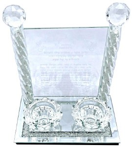 Candle Sticks Crystal with Hadlaks Neiros ad Tray