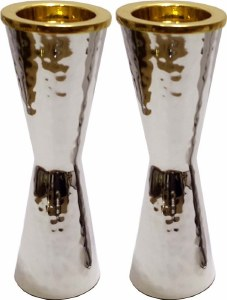 """Candle Sticks Silver Hammered Cone Shaped 6"""""""