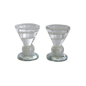 """Candle Sticks Crystal Round with Crushed Stoned Stem 3"""""""