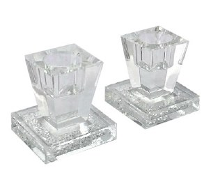 Crystal Square Candle Sticks with Crushed Stones Design 2""