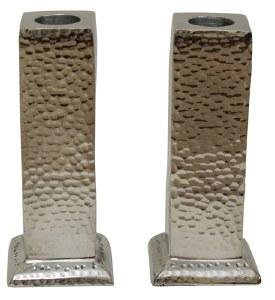 """Candlesticks Nickel Plated Oblong Shape Hammered Design 7"""""""