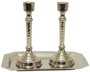 """Candlesticks Nickel Plated Hammered Design with Tray 6"""""""