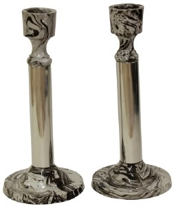 """Candlesticks Nickel Plated and Marble Design 6.25"""""""
