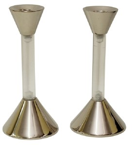 Candlesticks Nickel Plated and Lucite Sleek 5.75""