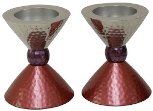 """Candlesticks Nickel Plated Hammered Silver Purple and Pink for Tea Lights 3.5"""""""