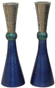 Candlesticks Nickel Plated Hammered Design Silver Teal and Blue 7""