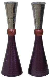 """Candlesticks Nickel Plated Hammered Design Silver Pink and Purple 7"""""""