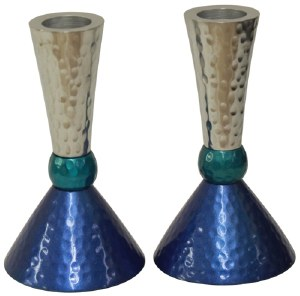 Candlesticks Nickel Plated Hammered Design Silver Teal and Blue 4.75""