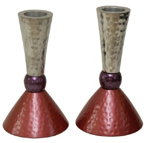 """Candlesticks Nickel Plated Hammered Design Silver Purple and Pink 4.75"""""""