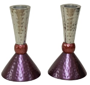 """Candlesticks Nickel Plated Hammered Design Silver Pink and Purple 4.75"""""""
