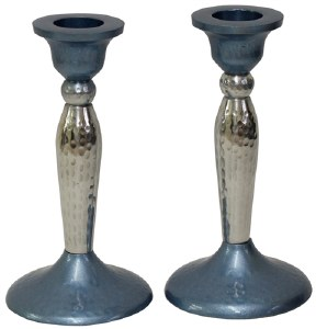 """Candlesticks Nickel Plated Hammered Design Blue and Silver 5.25"""""""