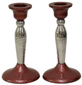 """Candlesticks Nickel Plated Hammered Design Pink and Silver 5.25"""""""
