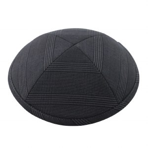 Cool Kippah Black and Grey Suit Material 4 Part 17cm