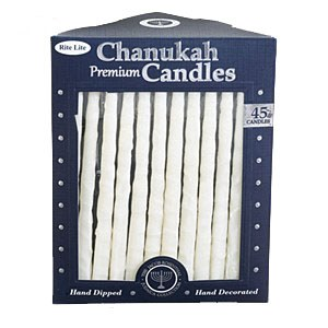 Chanukah Candles Frosted White on White