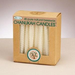 Chanukah Candles - Honeycomb Beeswax Natural Color