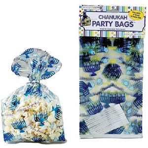 Chanukah Cellophane Party Bags with Twist Ties 12 Pack