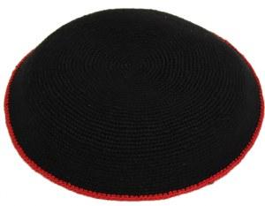 Fine Knit Kippah Serugah DMC 17cm  Black with Red Border