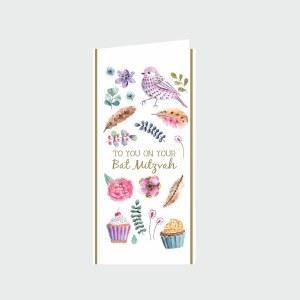 Bat Mitzvah Wallet Greeting Card - Bird Design