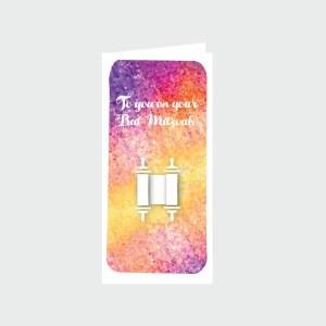 Bat Mitzvah Wallet Greeting Card - Torah Design