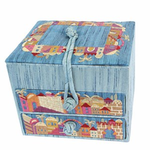 Yair Emanuel Two Drawer Embroidered Jewelry Box - Blue Jerusalem