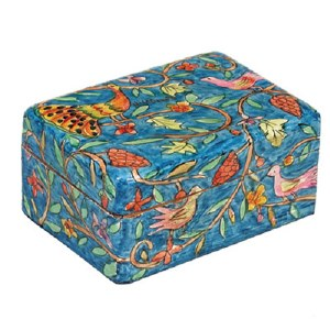 Yair Emanuel Small Wooden Jewelry Box - Peacock
