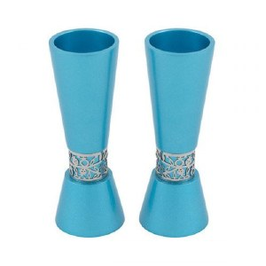 Candlesticks Turquoise Cone Shaped Designed by Yair Emanuel