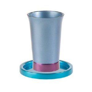 Yair Emanuel Anodized Aluminum Kiddush Cup and Saucer - Blue and Maroon