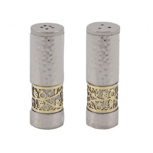 Salt and Pepper Shakers Hammered Silver Designed by Yair Emanuel