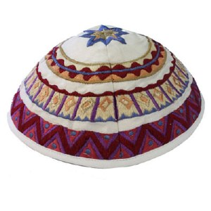 Yair Emanuel Embroidered Kippah - White Geometrical Shapes