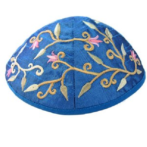 Yair Emanuel Blue Embroidered Kippah - Flowers