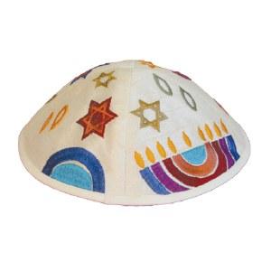 Yair Emanuel Embroidered Kippah - Multicolor Menorah