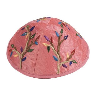 Yair Emanuel Pink Embroidered Kippah - Branches