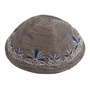 Yair Emanuel Embroidered Kippah with Flowers - Grey