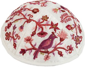 Kippah Embroidered Pink Birds and Flowers Designed by Yair Emanuel
