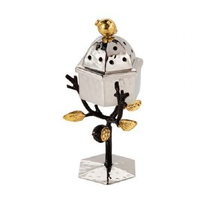 Emanuel Standing Spice Box Stainless Steel Accentuated with Pomegranate Branch