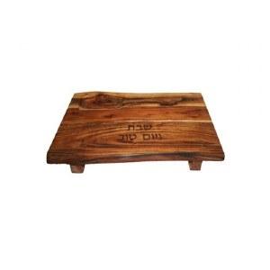 Yair Emanuel Challah Board Oblong Mango Wood with Feet and Salt Dish