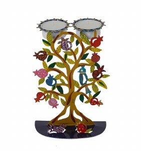 Candlesticks Metal Laser Painted Pomegranate and Bird Motif Designed by Yair Emanuel