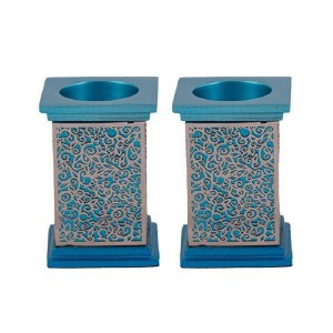 Emanuel Square Candlesticks Turquoise with Silver Colored Exquisite Metal Cutout