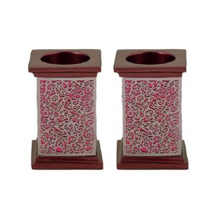 Yair Emanuel Square Candlesticks Maroon with Silver Colored Exquisite Metal Cutout