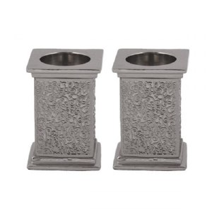 Emanuel Square Candlesticks with Exquisite Metal Cutout Silver Color