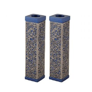 Emanuel Tall Square Candlesticks Blue with Silver Colored Exquisite Metal Cutout