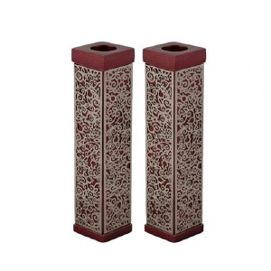 Yair Emanuel Tall Square Candlesticks Maroon with Silver Colored Exquisite Metal Cutout