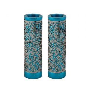 Emanuel Round Candlesticks Turquoise with Silver Colored Exquisite Metal Cutout