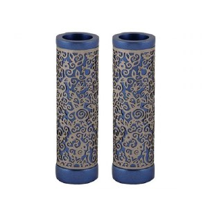 Emanuel Round Candlesticks Blue with Silver Colored Exquisite Metal Cutout