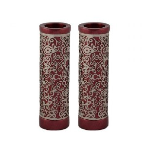 Emanuel Round Candlesticks Maroon with Silver Colored Exquisite Metal Cutout