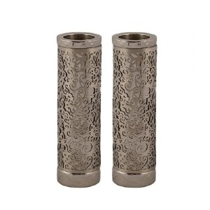 Emanuel Round Candlesticks Silver Colored with Exquisite Metal Cutout