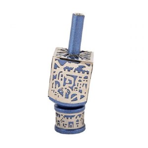 Decorative Dreidel on Base Blue Anodized Aluminum with Silver Metal Cutout Jerusalem Design Size Small by Yair Emanuel