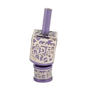 Decorative Dreidel on Base Purple Anodized Aluminum with Silver Metal Cutout Jerusalem Design Size Small by Yair Emanuel