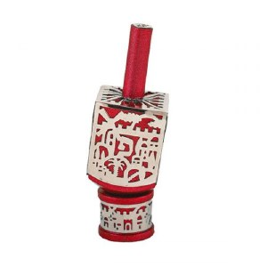 Decorative Dreidel on Base Red Anodized Aluminum with Silver Metal Cutout Jerusalem Design Size Small by Yair Emanuel