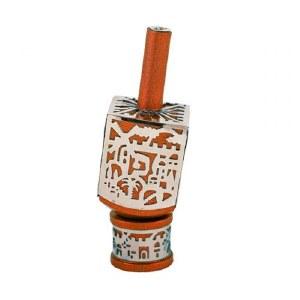 Decorative Dreidel on Base Orange Anodized Aluminum with Silver Metal Cutout Jerusalem Design Size Small by Yair Emanuel